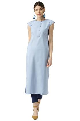LIBAS Womens Cotton Solid Striaght Kurta With Side Pocket