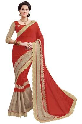 ASHIKA Plain Georgette Silk Saree With Blouse Piece