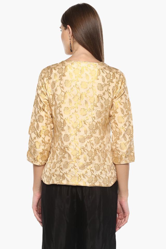 Womens Surplice Neck Gold Woven Top
