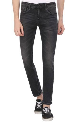 Mens Slim Fit 5 Pocket Whiskered Effect Jeans