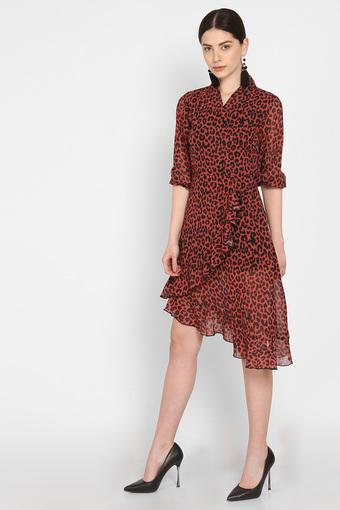 Womens Surplice Neck Animal Print Midi Dress