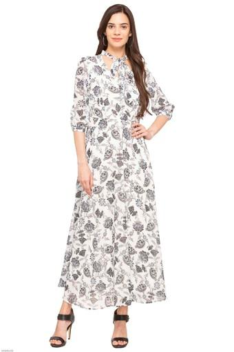 Womens Tie Up Neck Printed Maxi Dress