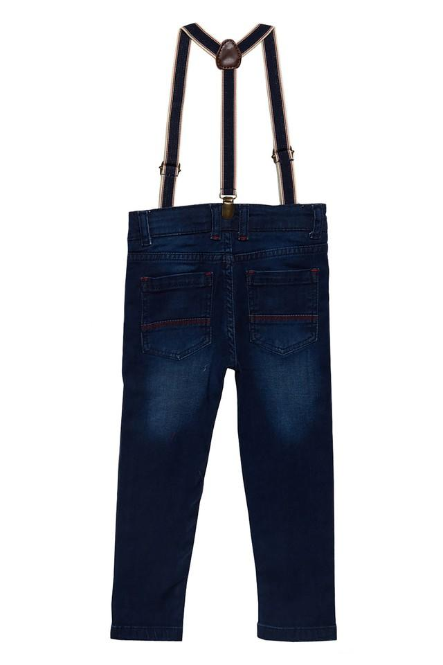 Boys Slim Fit Whiskered Effect Jeans With Suspenders