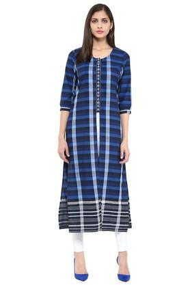 FUSION BEATS Womens Slim Fit Check Kurta