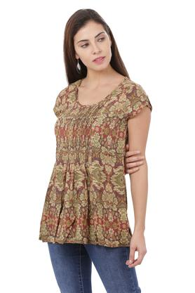 Womens Round Neck Printed Pintuck Top