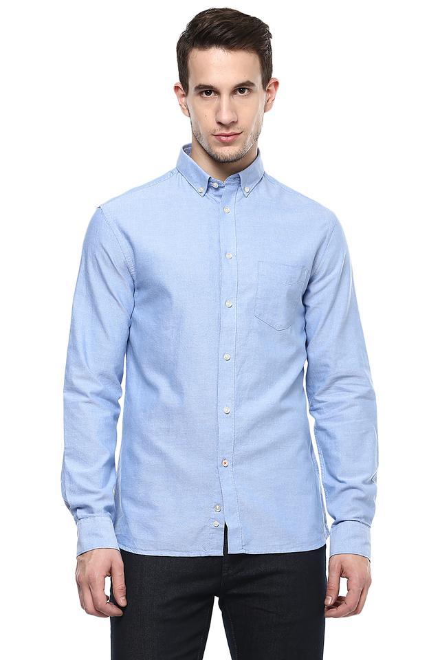Mens Button-Down Collar Solid Shirt