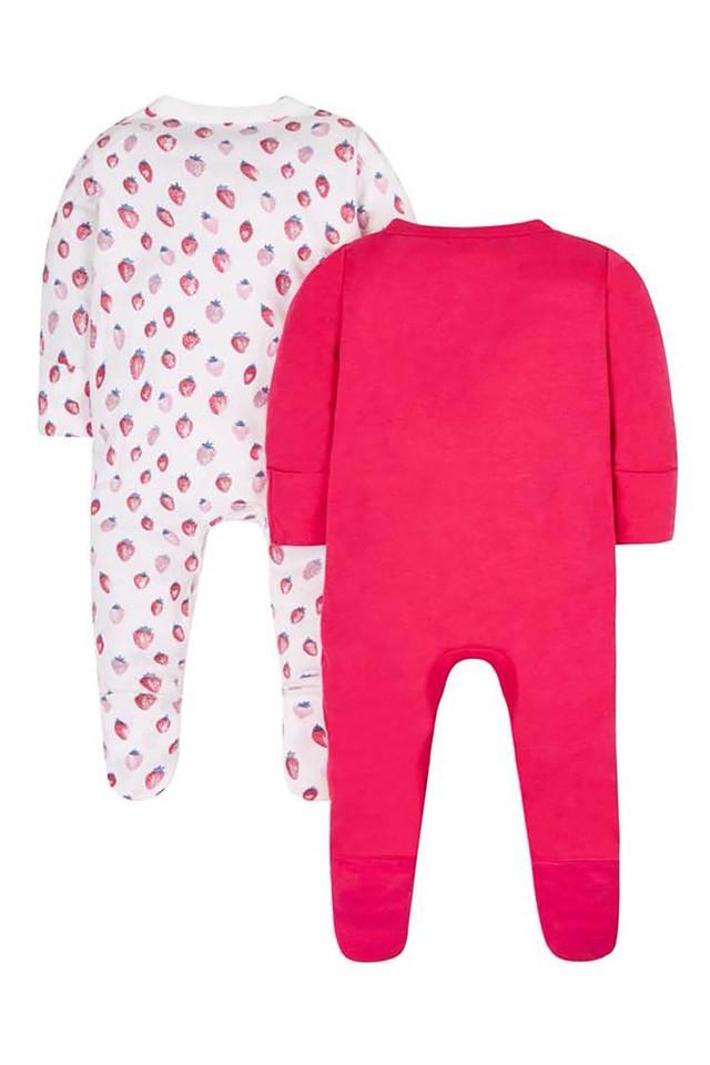 Girls V-Neck Printed Sleepsuit - Pack of 2