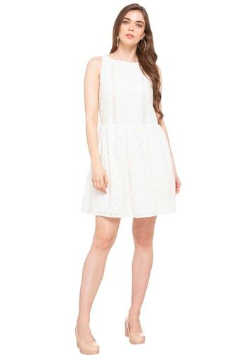 Womens Round Neck Solid Eyelet Skater Dress