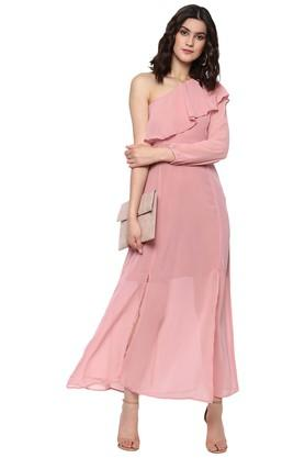 Womens Solid Casual One Shoulder Dress