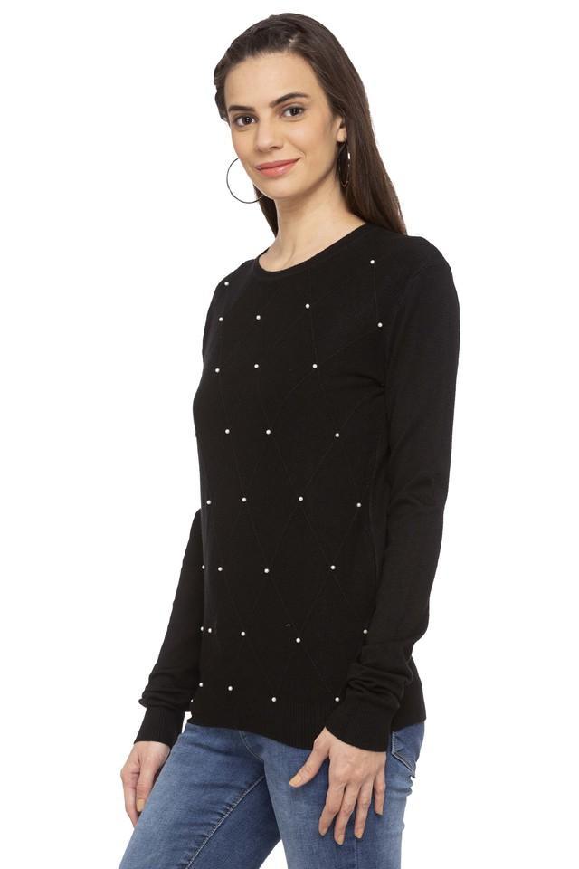 Womens Round Neck Embellished Sweater