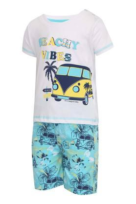 Boys Round Neck Printed Tee and Shorts Set