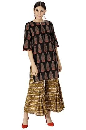 LIBAS Womens Cotton Printed Kurta With Palazzo - 204186247_9212