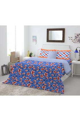 SPACESCotton Floral Print Double Bed Sheet With 2 Pillow Covers