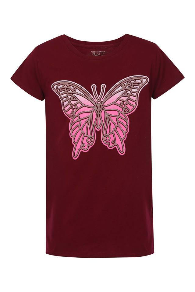 Girls Round Neck Shimmer Tee