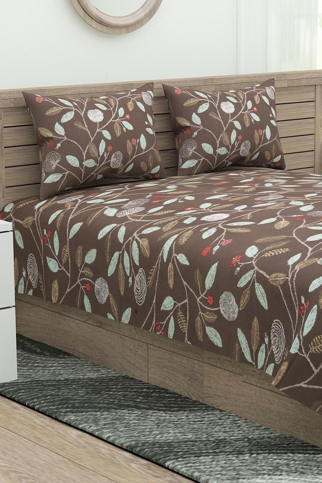 English Home Printed Double Bed Sheet with 2 Pillow Covers