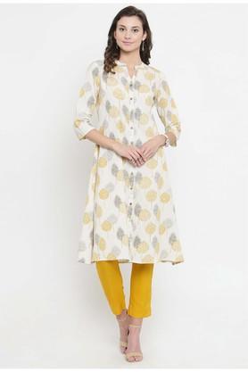 VARANGAWomen Cotton Floral Print A-line Kurta - 204516471_9100