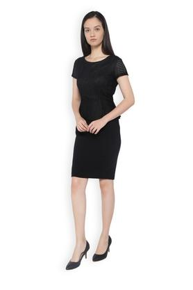 Women Round Neck Solid Peplum Knee Length Dress