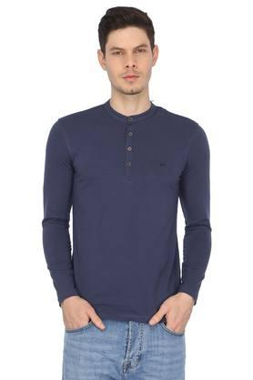 Mens Henley Neck Solid T-Shirt