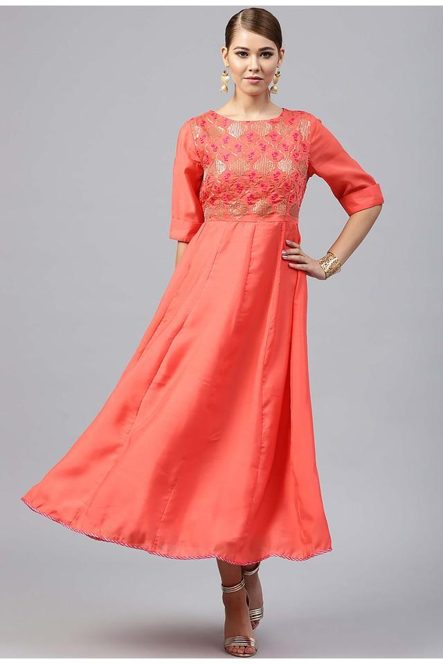 Womens Round Neck Embellished Calf Length Dress