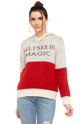 RS BY ROCKY STAR Womens Hooded Neck Knitted Sweater