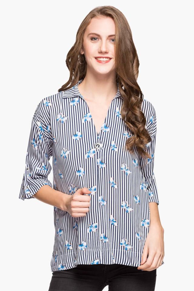 Womens Collared Stripe Top