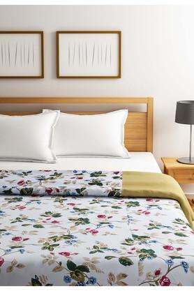Sea Green and Off White Floral Single AC Comfortor