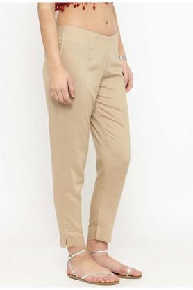 Women mid-rise solid pants