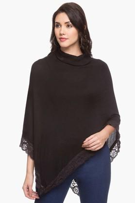 FRATINI WOMAN Womens High Neck Solid Poncho Top