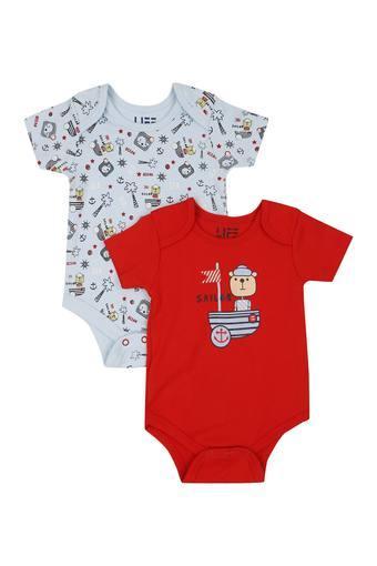 Infants Envelope Neck Printed and Solid Babysuit Pack of 2
