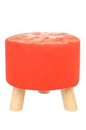 Round Orange Printed Stool