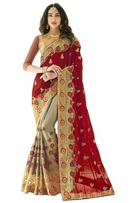 DEMARCA Womens Colour Block Embroidered Saree With Blouse Piece - 204771705_9111