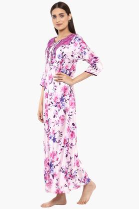 Womens Sweetheart Neck Printed Night Dress