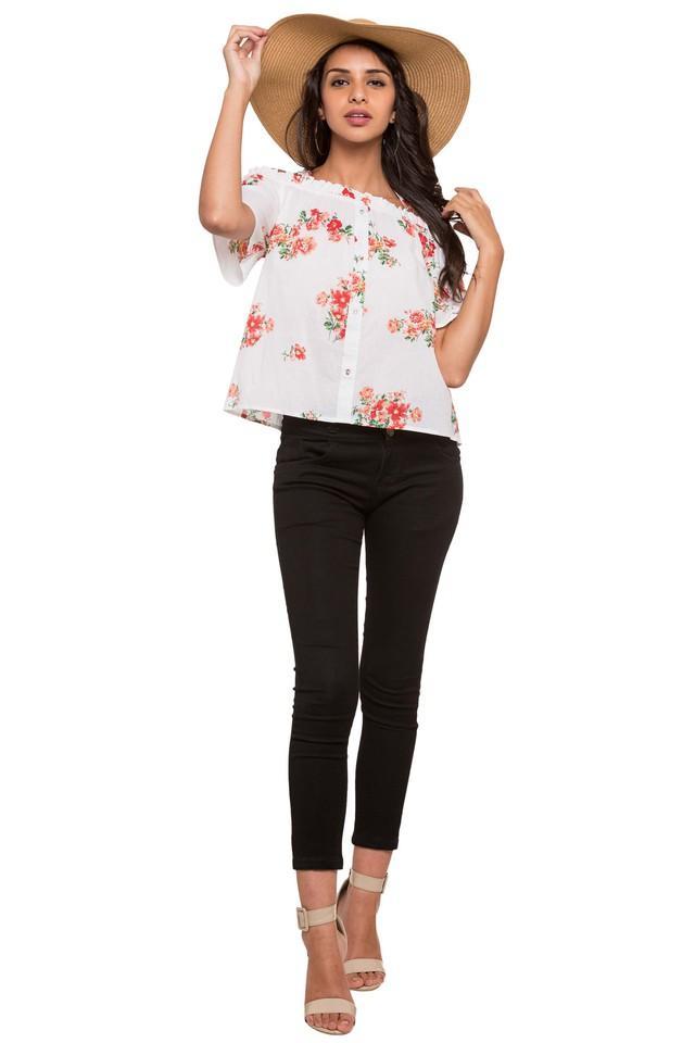 Womens Off Shoulder Floral Print Top