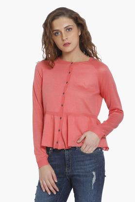 ONLY Womens Round Neck Solid Cardigan