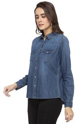 Womens Collared Rinse Wash Shirt