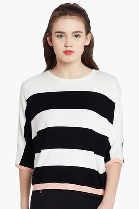 COVER STORY Womens Round Neck Striped Sweater