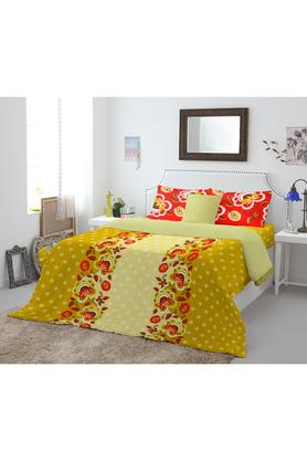 SPACESCotton Printed Double Bed Sheet With 2 Pillow Covers