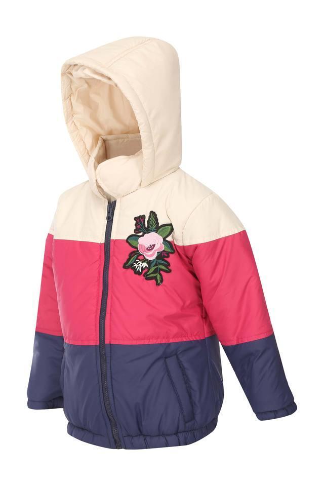 Girls Hooded Colour Block Jacket