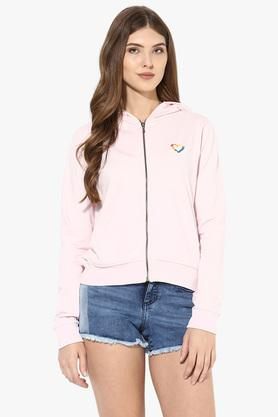 LOVE GENRATION Womens Hooded Neck Solid Jacket