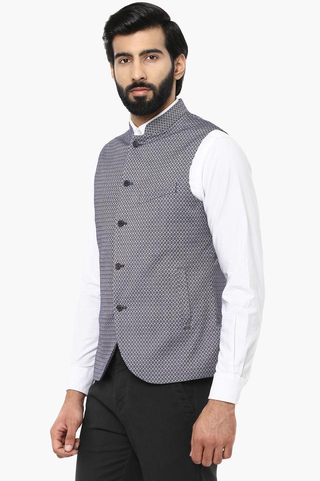 Mens Mandarin Neck Printed Nehru Jacket
