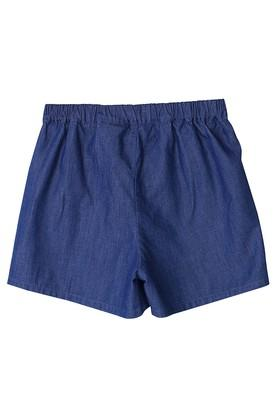 Girls Solid Applique Shorts