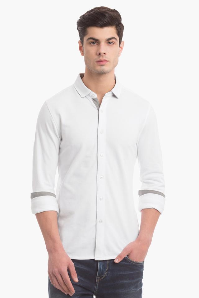 Mens Slim Fit Solid Casual Shirt