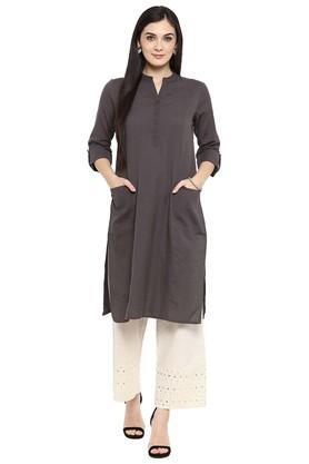 JUNIPERWomens Cotton Flex Straight Kurta With Pockets