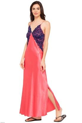 Womens Printed Surplice Neck Night Dress with Robe