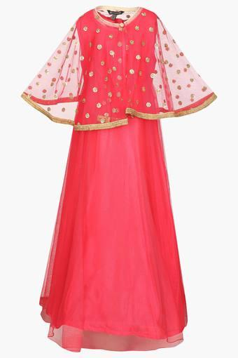 Buy Stop Girls Round Neck Assorted Cape Gown Shoppers Stop