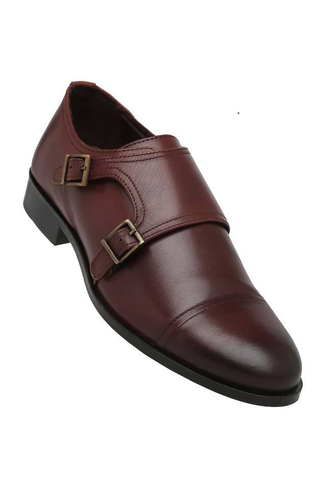 Mens Leather Buckle Closure Monk Shoes