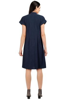 Womens Collared Slub Shirt Dress