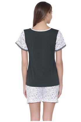 Womens V-Neck Printed Top and Shorts Set
