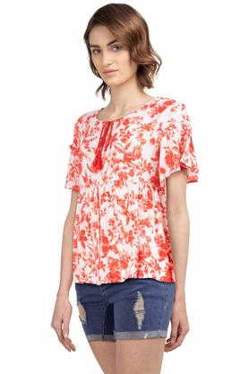 Womens Tie Up Neck Floral Printed Top