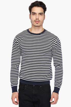 INDIAN TERRAINMens Round Neck Stripe Pullover